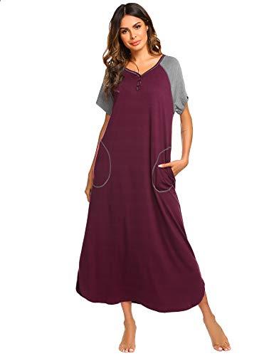 Ekouaer Damen Nachthemd V-Ausschnitt Loungewear Langarm Nachtwäsche volle Länge Nachthemd für Frauen S-XXL, fuchsia, Mittel
