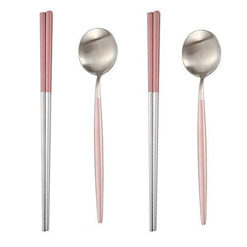 MBB 2 pares de palillos y 2 cucharas planas juego de vajilla de acero inoxidable