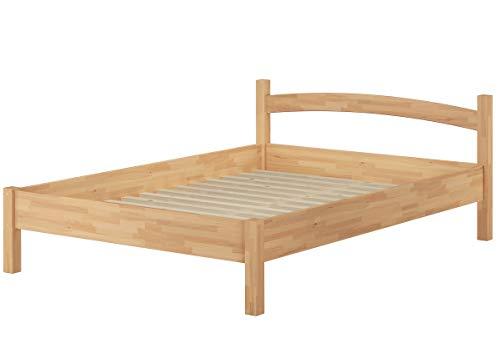 Erst-Holz® Massivholzbett Buche Natur 140x200 Doppelbett Bettgestell Holzbett mit Rollrost 60.73-14