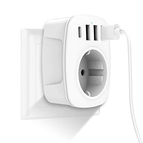 USB Steckdose, Gogotool Steckdosen mit 3 USB Ladegerät (2.4A) und 1 Typ-C Port (3A), 5-in-1 Steckdosenadapter mit USB Ladegerät, Wand Steckdosen Adapter für Haushaltsgerät, Smartphone, Mp3, PC (Weiß)
