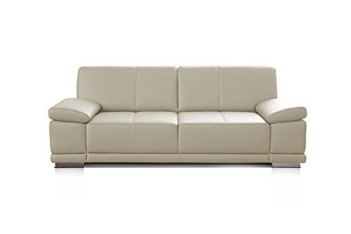CAVADORE 3,5-Sitzer Ledersofa Corianne / Große Couch im Echtlederbezug und modernem Design / Mit verstellbaren Armlehnen / 248 x 80 x 99 / Echtleder weiß