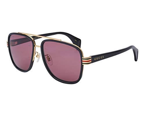 Gucci Unisex – Erwachsene GG0448S-003-58 Sonnenbrille, Schwarz Glänzend-Gold, 58