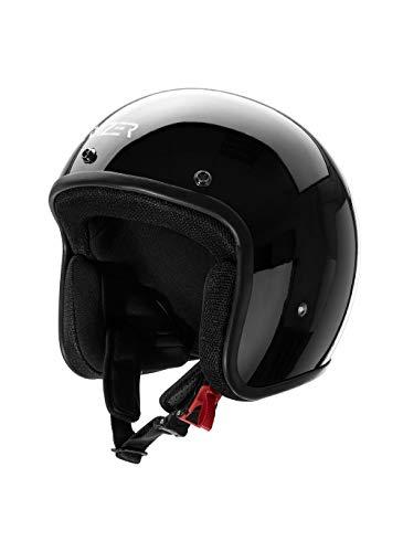 CRUIZER - Casco homologado para scooter moto Jet negro brillante sin visera con calota externa de fibra, visera parasol extraíble, interiores hipoalergénicos y transpirables L Negro