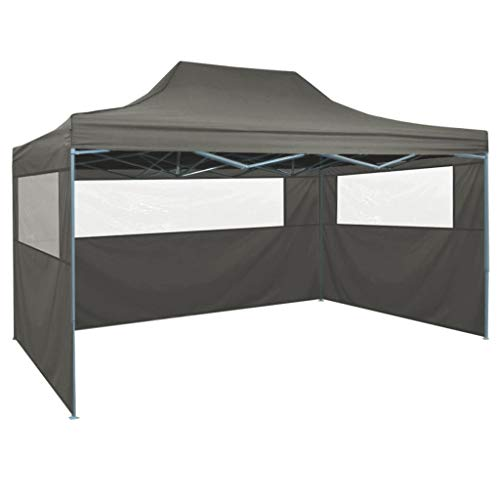 Lechnical Professional party tent Foldable with 3 side walls Gazebo Garden pavilion Waterproof UV protection pavilion for garden patio celebration 3×4m steel anthracite