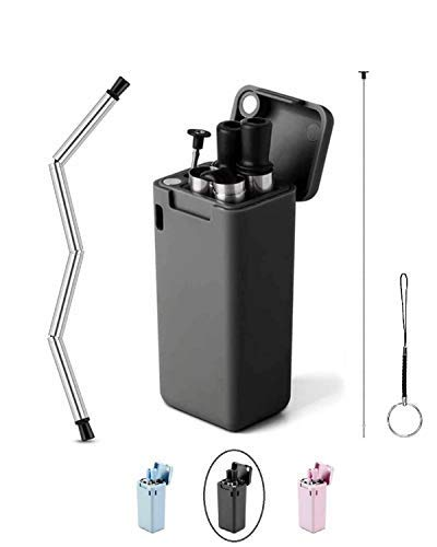 trois. Cannuccia pieghevole to-go – Cannuccia riutilizzabile in silicone e acciaio inox con custodia inclusa, kit di pulizia e portachiavi