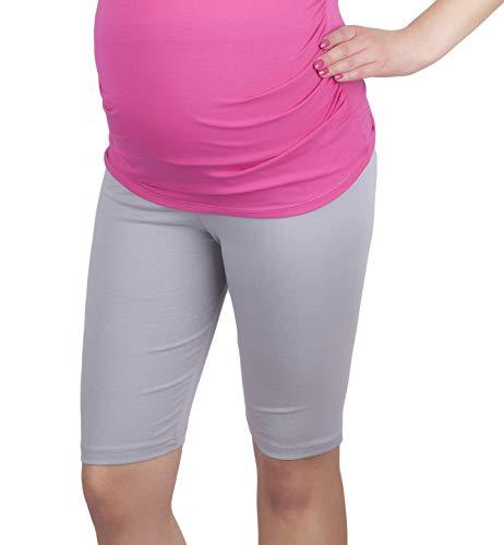 Mija - Komfortable Kurze Umstandsleggings für Schwangere Shorts 1/2 Leggings 4008 (S, Grau)