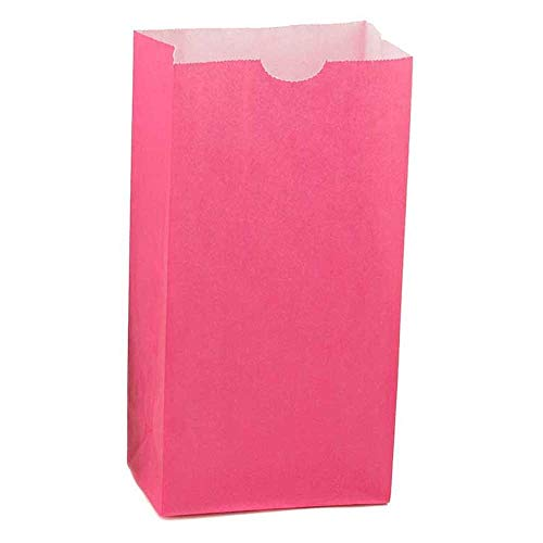Hygloss Products Magenta Paper Bags – For Party Favors, Arts, Crafts 3 x 5 x 9.75 Inch, 100 Pack