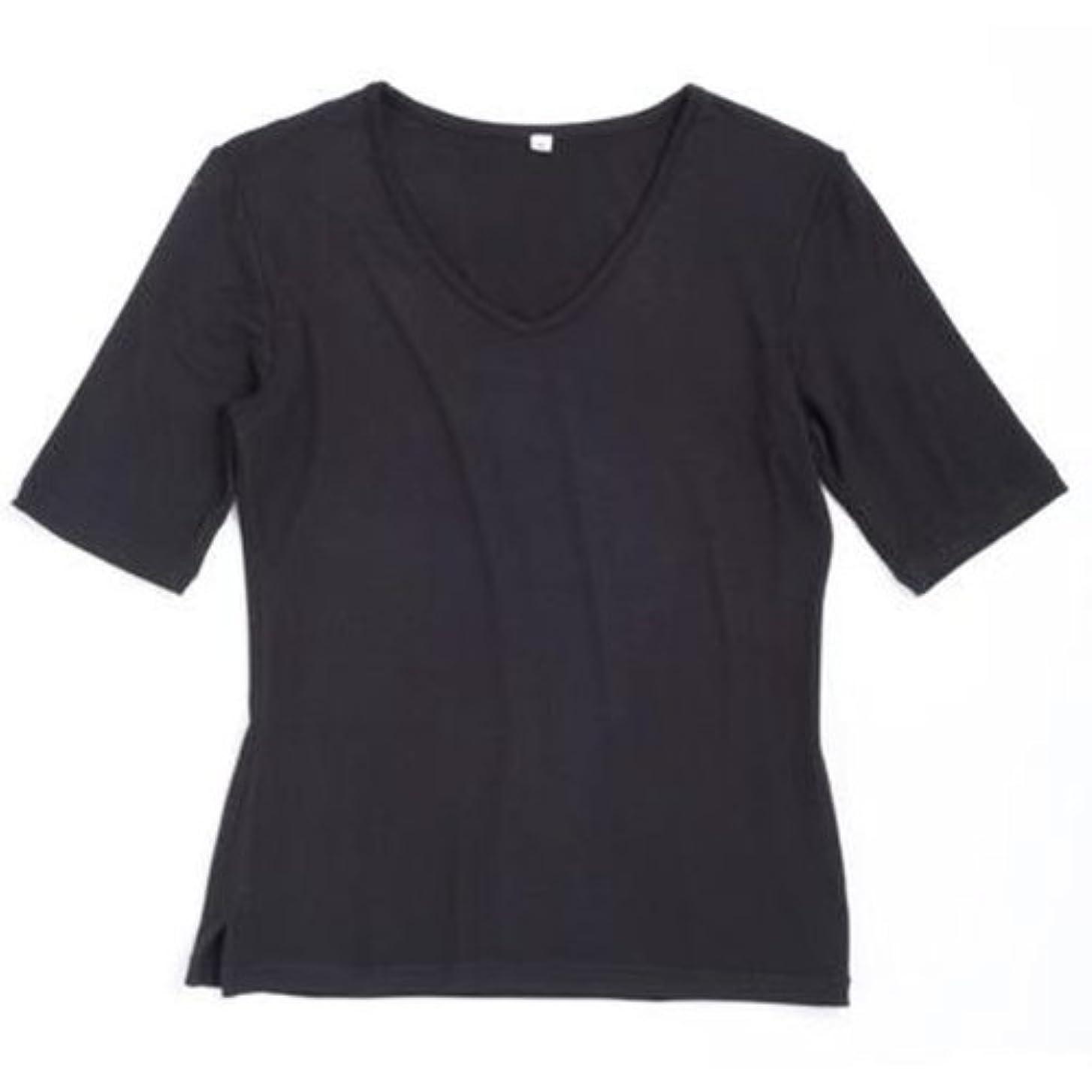 句煩わしい郵便屋さん竹スタイル Vネック半袖Tシャツ レディース ブラック M