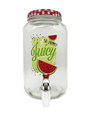 Dispensador de bebidas con grifo – Recipiente de cristal de 3 L – Expendedor de refrescos