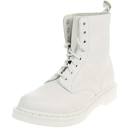 Dr. Martens Women's Pascal Leather Combat Boot (5 M UK, White Virginia Mono)