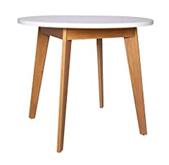 """This modern, sleek round table is small enough to fit in a number of places and easy to move, yet with its solid ash legs, it can endure steady use. It can fit in with a simple decor or be spruced up to go with different rooms or occasions. 35.4""""W x ..."""