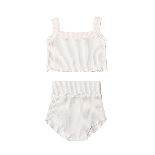 Shaohan Conjunto de ropa de verano para recién nacido, camiseta de tirantes fija, pantalones cortos y pantalones cortos, conjunto de ropa para niñas Blanco 80 cm