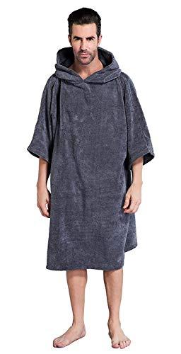 Winthome Bademantel mit Kapuze zum Umziehen am Strand/im Schwimmbad für Erwachsene Herren Damen, Badeponcho Handtuch (Grau, M)