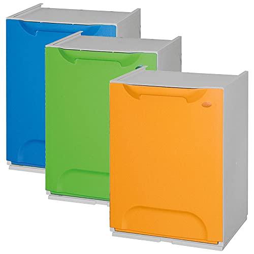 WellHome ECO-LOGICO Pack de 3 papeleras de reciclaje en polipropileno color azul,verde y amarillo, con depósito en el interior, 47x34x29 cms. c/u
