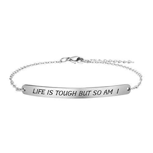 Joycuff Inspirational Bracelets for Women Minimalist Silver Chain Personalized Birthday Gifts Life is Tough But So Am I