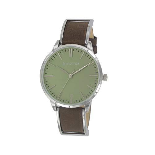 Reloj Bilyfer para Mujer con Correa en Marron y Pantalla en Verde 1F629-M
