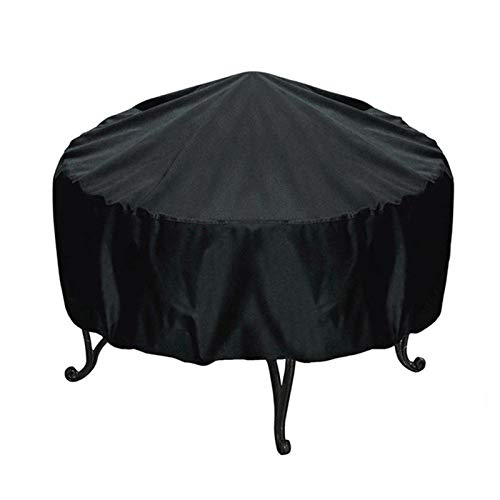 Henai Patio Fire Pit Table Cover Outdoor Waterproof Fire Bowl Cover With Durable Material AllSeason Protection Thick PVC Coating Black boosted