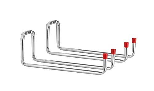 BigDean 2er Set Gerätehalter Doppelhaken 25x12x9 cm - Verzinkter Stahl - Schwerlast-Gerätehalter mit 12 kg Tragkraft - Für Werkstatt, Garage, Geräteschuppen, Keller - Wandbefestigung für Gartengeräte