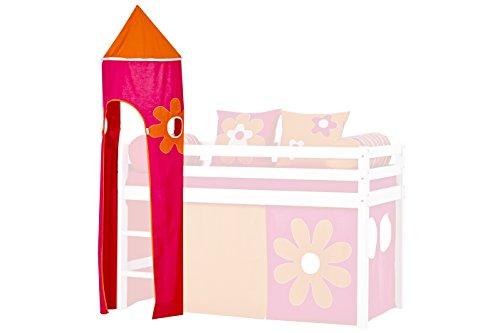 Hoppekids für Halbhochbett, Spielbett, Hochbett, inkl Gestell, pink, Coton, Flower Power, 45 x 45 x 185 cm