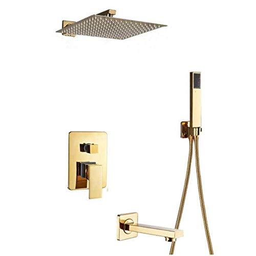 HAOSHUAI - Grifo de baño para ducha, bañera, ducha y bañera, color dorado