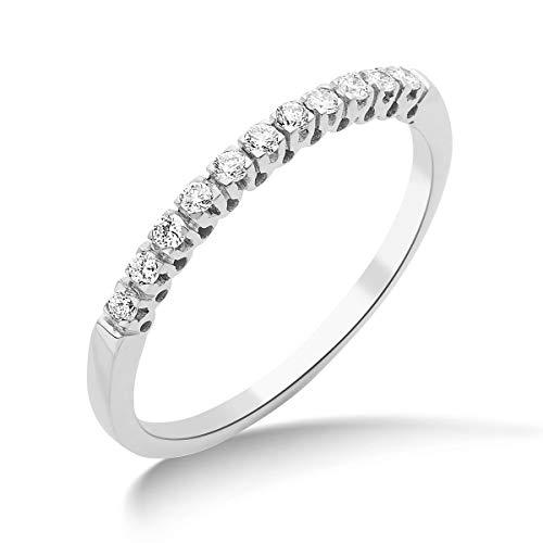 Miore Schmuck Damen 0.15 Ct Diamant Ewigkeitsring mit Diamanten Brillanten Ring aus Weißgold 18 Karat / 750 Gold