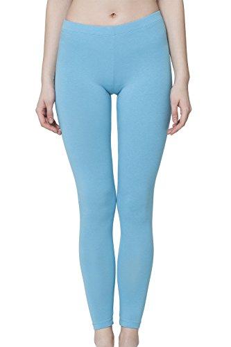 Celodoro Damen Leggings, stretchige Jersey Hose aus Baumwolle - Hellblau M