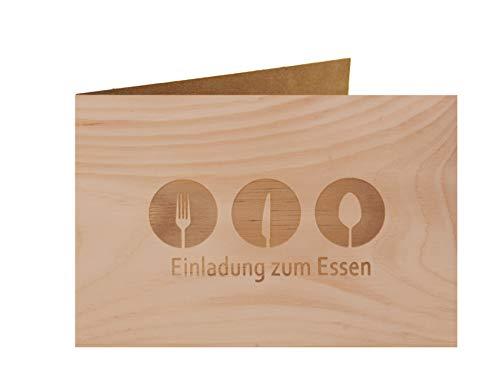 Holzgrußkarte - Einladung zum Essen - 100% handmade in Österreich - Postkarte, Geschenkkarte, Grußkarte, Klappkarte, Karte, Glückwunschkarte Zirbe