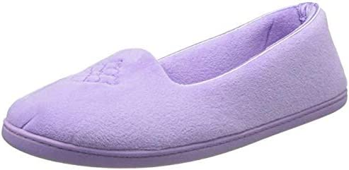 Dearfoams Women's Micro Velour Embroidered Closed Back Slippers (X-Large, Pretty Purple)