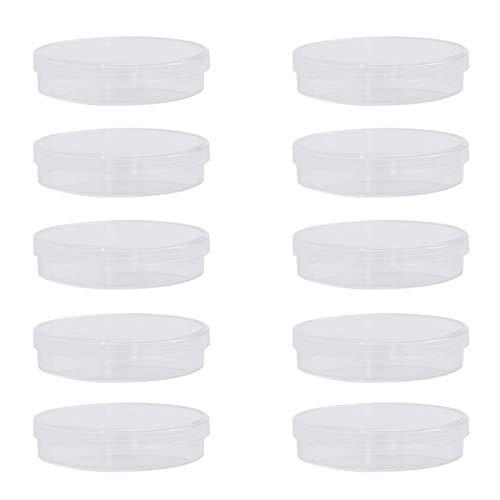 UEETEK 10pcs 70mm platos de Petri de plástico estéril cultivo bacteriano plato con tapa