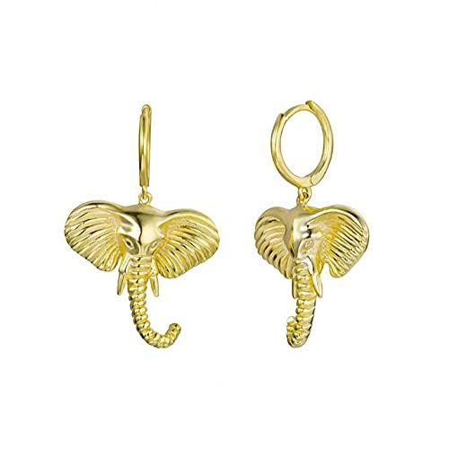 Pendientes colgantes con dije de elefante de plata 925, encantos grandes, joyería Rock Rock Punk para mujer, boda, 1 par de oro