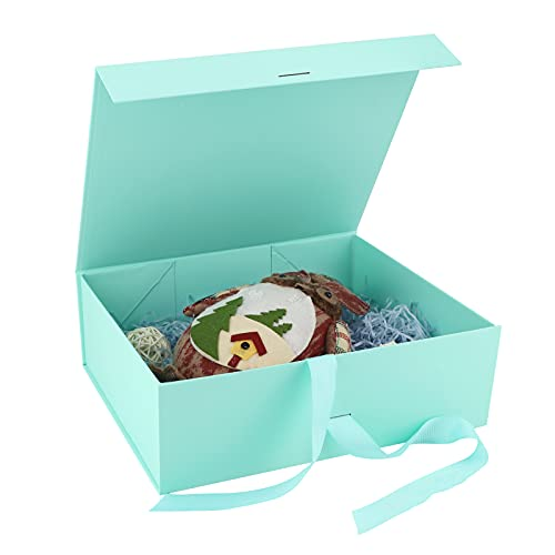 Caja de Regalo con Lazo de Lazo Decorativo Cajas de Cartón,32 x 26 x 10,5cm Caja de Regalo Magnética Cajas de Cartón Caja con Tapa Caja de Regalo con Magnética Caja de Regalo de Lujo Mint Green