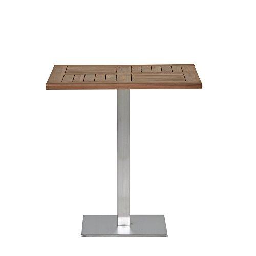 Homy Homy Bistrotisch 70x70 cm Quadratisch Holz Massivholz Teak Braun Metall Gestell Edelstahl - Alvajo