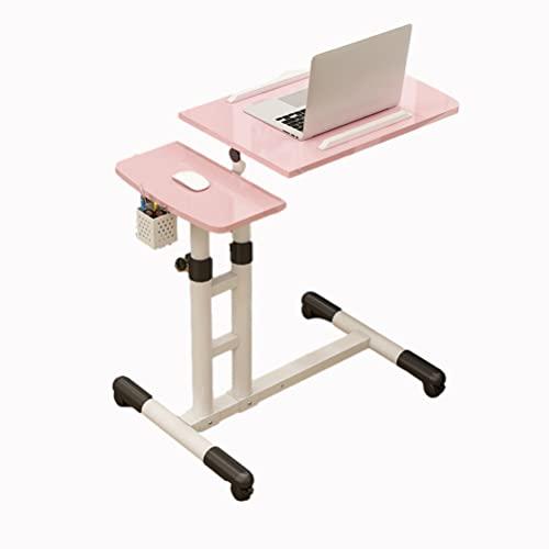 Mesa De Escritorio Altura Ajustable Portátil Ordenador con Ruedas Sofá para Cama O Auxiliar Y Soporte Ratón Oficina En Casa (Color : Pink)