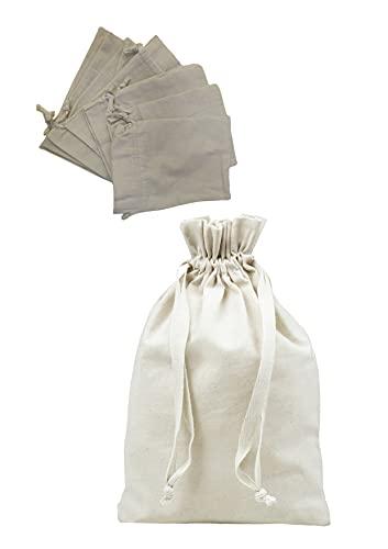 Los Eventos de la Tata. Pack de 10 Bolsas de algodón orgánico con Cuerda. Saco de Algodón. Bolsitas de Algodón para Guardar Regalos