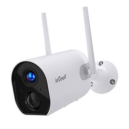 ieGeek Camara de Vigilancia WiFi Exterior con Batería Recargable de 10400 mAh, Cámara IP Seguridad 1080P sin Cables, Detección de Movimiento PIR, Visión Nocturna, Audio de 2 Vias