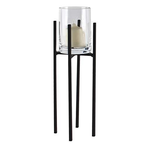 Varia Living Windlicht Kai aus Metall schwarz Kerzenhalter im modernen Vintage Shabby Look | Kerzenleuchter auf Fuß für Kerzen und Teelichter| Kerzenhalter mit Glaszylinder (H 30 cm/Ø 10 cm)