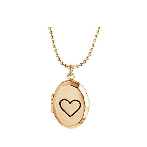 Beydodo Collana Portafoto a Cuore Ovale Ciondolo Medaglione Immagine Oro Gioielleria Commemorativa Regalo di San Valentino