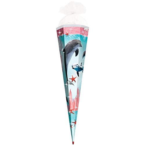 ROTH Schultüte groß Delfin mit Seesternen - Glitter und Glitzer-Borte 85 cm - 6-eckig Rot(h)-Spitze Tüllverschluss - Zuckertüte Glitzer