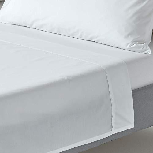 Homescapes Drap Plat Blanc de Luxe pour 2 Personnes de 240 x 275 cm en Pur Coton peigné d'Egypte (qualité Percale 80 Fils/cm²)