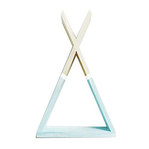 Topdo - 1 estante de madera con forma de triángulo, estantería de pared, estantería de almacenamiento, salón o jardín.