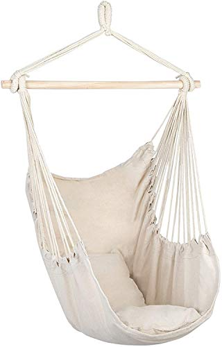 Hanging Chairs Hanging Rope Hammock Chair Porch Swing Seat, Large Hammock Net Chair Swing, Cotton Rope Porch Chair for Indoor, Outdoor, Garden, Patio, Porch, Yard - 2 Seat Cushions Included