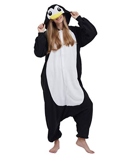 Jumpsuit Onesie Tier Karton Fasching Halloween Kostüm Sleepsuit Cosplay Overall Pyjama Schlafanzug Erwachsene Unisex Lounge, Schwarz Pinguin, Erwachsene Größe M - für Höhe 156-167CM