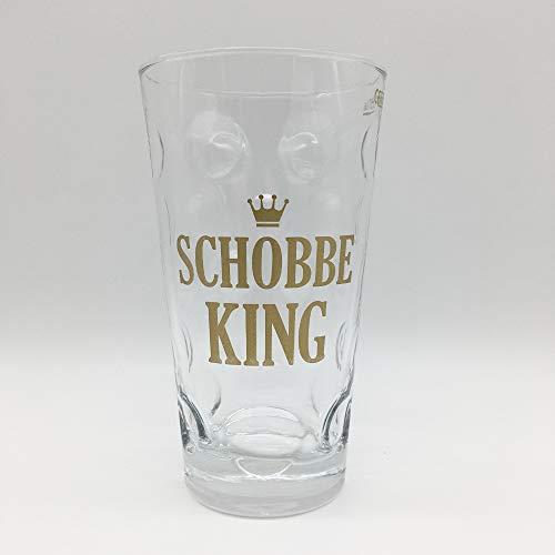 Schobbe King 0,5 L Dubbeglas (klar) - Pfalz Weinglas und Schoppenglas für einen Pfälzer Schorle König