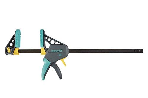 wolfcraft EHZ 100-450 Einhandzwinge PRO 3032000 | Kraftvolle Zwinge zum professionellen Spannen von Werkstücken mit nur einer Hand | Spannkraft: 120 kg - Spannweite: 450 mm