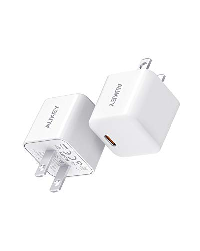 USB C Charger, 20W 2-Pack AUKEY Swift Lite iPhone Charger for iPhone 12, Compact USB C Fast Charger with PD 3.0, USB-C Power Adapter for iPhone 11 Pro Max,AirPods Pro, Galaxy, iPad Pro, Pixel, Kindle