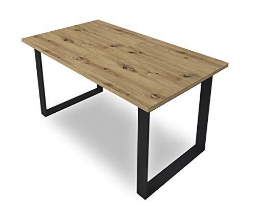 LUK Furniture Art Ausziehtisch 150-198 cm Wohnzimmertisch Tisch ausziehbarer Esstisch modern elegant Sofatisch Wohnzimmer Eiche Metallrahmen in Schwarz (Eiche Artisan)