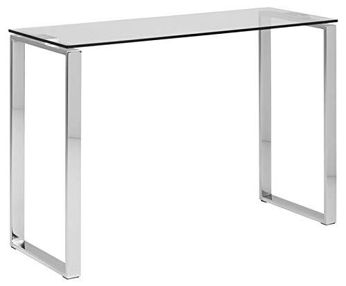 Katrine mesa consola de cristal transparente con patas cromadas, muebles de diseño de calidad