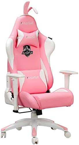 AutoFull Pink Gaming Chair PU Leather High Back Ergonomic Racing Office Desk Computer Chairs with...
