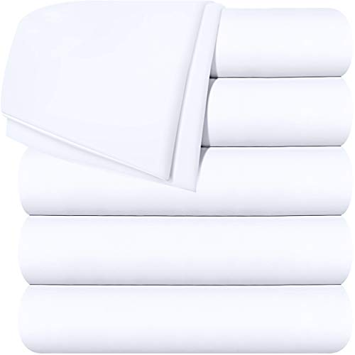 Utopia Bedding Flat Sheets - Pack of 6 - Soft Brushed Microfiber Fabric - Shrinkage & Fade Resistant Top Sheets - Easy Care (Twin, White)