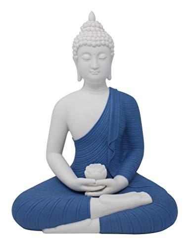 CeraLand Fine Porcelain Meditating Buddha Statue, Buddha Figurine, 12 inch (Blue and White)